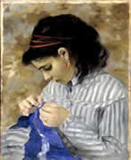 Lise Sewing by Renoir