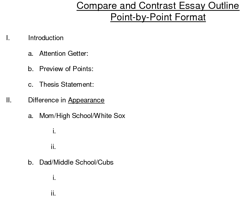writing a compare and contrast essay outline Learn how to write a compare-contrast essay so you can study the similarities and differences in a topic here are instructions and a sample question.