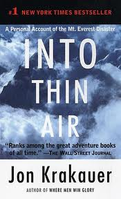 "into thin air essays Essay on into thin air by jon krakauer 1233 words | 5 pages admits to his relative inexperience with high altitude saying, ""truth be told, i'd never been higher."