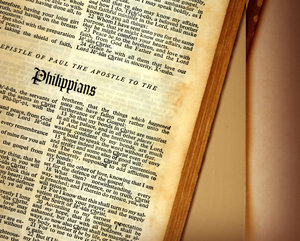 Bible open to Philippians